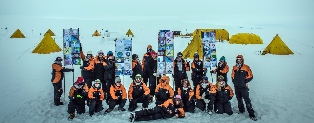 Windless Bight_Gateway PCAS students w Antarctic Flags